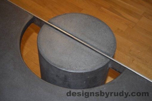Charcoal Concrete Coffee Table, Polished Steel Frame, frame and leg connection top view 6, with flash Designs by Rudy
