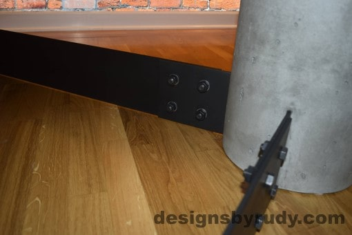 Gray Concrete Coffee Table, Black Steel Frame, concrete leg and steel leg extension joint detail 2, Designs by Rudy
