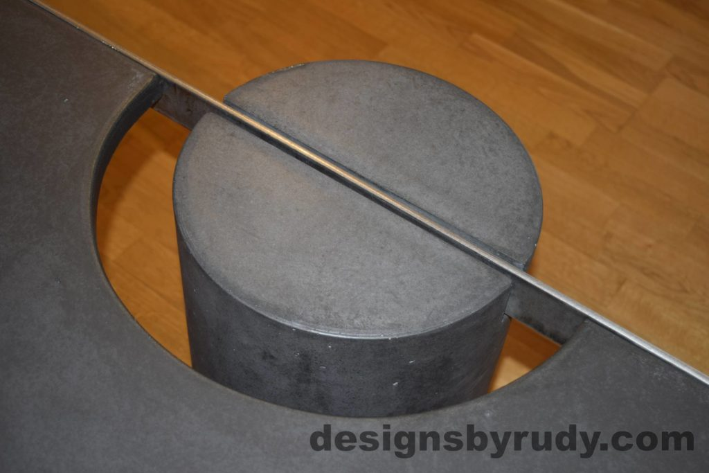 Black Concrete Coffee Table, Polished Steel Frame, frame and leg connection top view 6, with flash Designs by Rudy