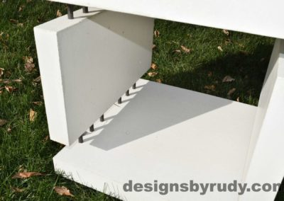 22L White Concrete Side Table DR0 natural lighting, inside view, Designs by Rudy