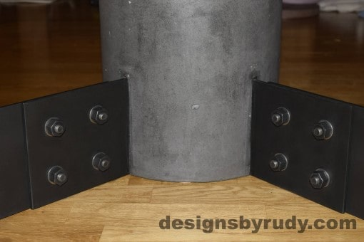 Charcoal Concrete Coffee Table, Black Steel Frame, steel legs and concrete leg joints closeup view, Designs by Rudy
