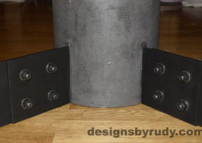 Black Concrete Coffee Table, Black Steel Frame, steel legs and concrete leg joints closeup view, Designs by Rudy