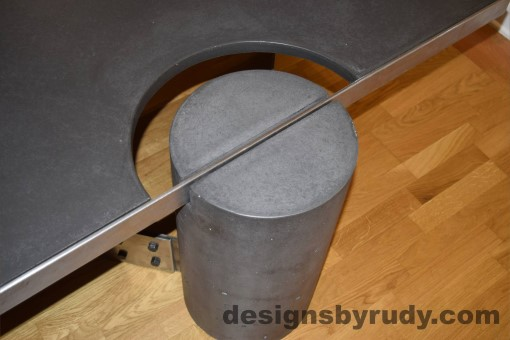 Charcoal Concrete Coffee Table, Polished Steel Frame, frame and leg connection top view 2, with flash Designs by Rudy