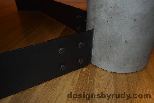 Gray Concrete Coffee Table, Black Steel Frame, concrete leg and steel leg extension joint detail, Designs by Rudy