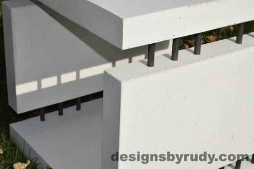 23 White Concrete Side Table DR0 natural lighting, top corner view closeup 2, Designs by Rudy