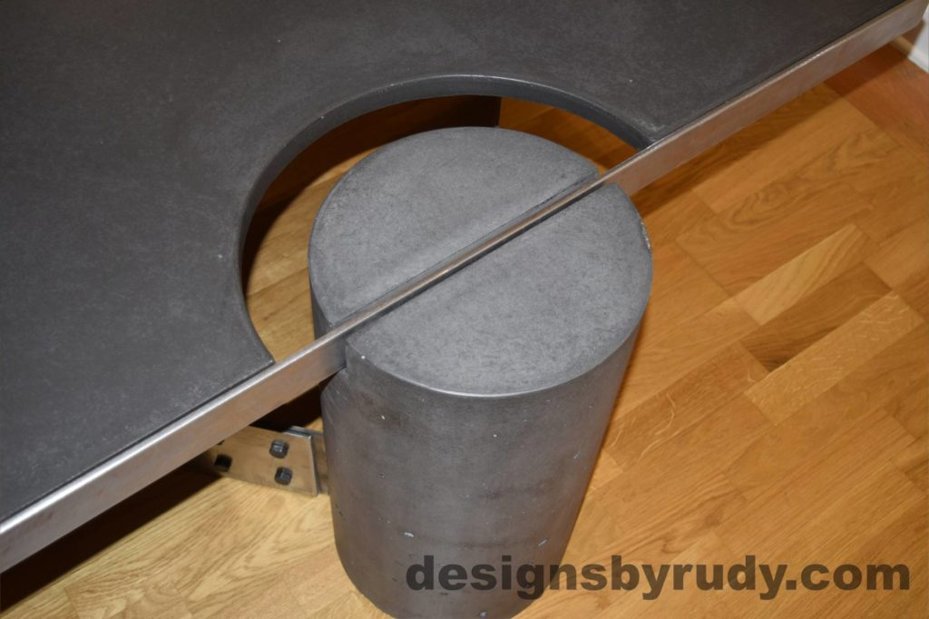 Black Concrete Coffee Table, Polished Steel Frame, frame and leg connection top view 2, with flash Designs by Rudy