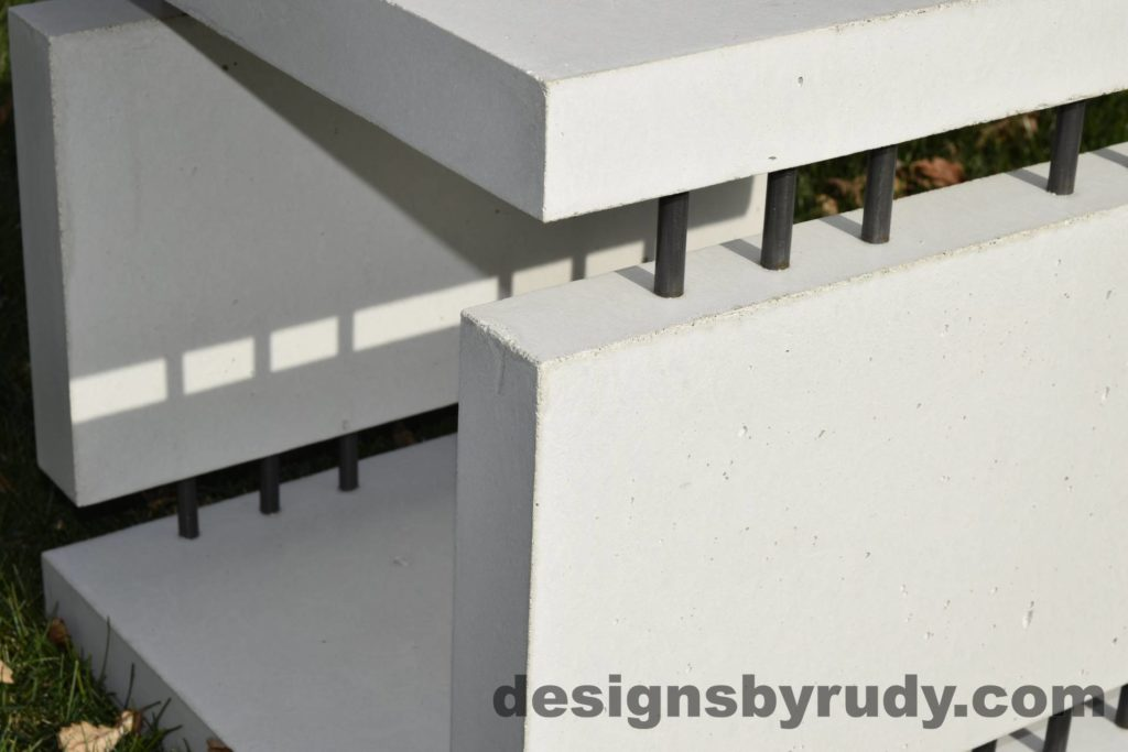 23L White Concrete Side Table DR0 natural lighting, top corner view closeup 2, Designs by Rudy