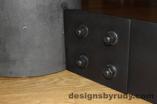 Charcoal Concrete Coffee Table, Black Steel Frame, steel leg and concrete leg joint closeup view, Designs by Rudy