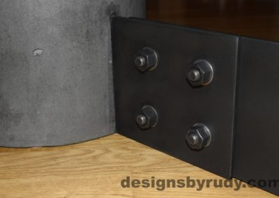 Black Concrete Coffee Table, Black Steel Frame, steel leg and concrete leg joint closeup view, Designs by Rudy