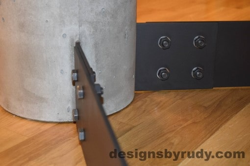 Gray Concrete Coffee Table, Black Steel Frame, concrete leg and steel leg extension joint detail 4, Designs by Rudy