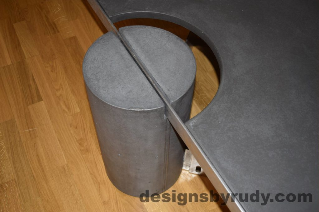 Black Concrete Coffee Table, Polished Steel Frame, frame and leg connection top view, with flash Designs by Rudy