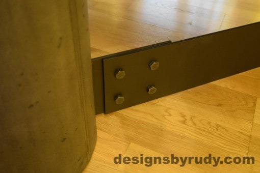 Charcoal Concrete Coffee Table, Black Steel Frame, steel leg and concrete leg joint outside closeup view, Designs by Rudy