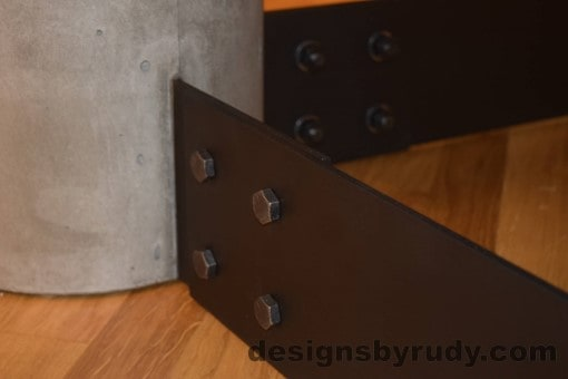 Gray Concrete Coffee Table, Black Steel Frame, concrete leg and steel leg extension joint detail 3, Designs by Rudy