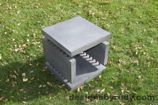 25 Gray Concrete Side Table DR0 exterior natural lighting full corner view 6, Designs by Rudy