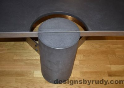 Charcoal Concrete Coffee Table, Polished Steel Frame, frame and leg connection top view 3, with flash Designs by Rudy