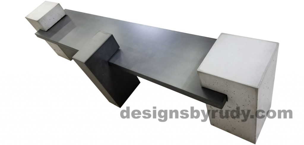 DR CB1 concrete bench on 3 pedestals by Designs by Rudy, top rear view of slab in charcoal concrete, center charcoal and side pedestals in gray concrete