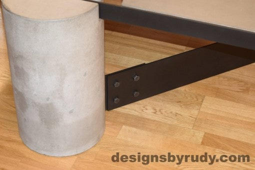 Gray Concrete Coffee Table, Black Steel Frame, concrete leg and steel leg extension joint detail 7, Designs by Rudy