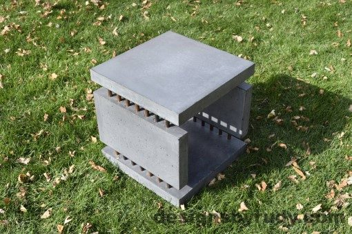 26 Gray Concrete Side Table DR0 exterior natural lighting full corner view 2, Designs by Rudy