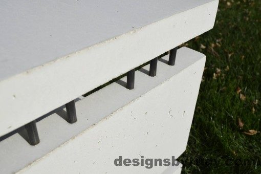 26 White Concrete Side Table DR0, steel rods detail 3, Designs by Rudy