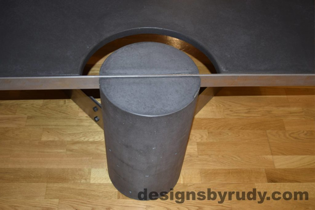 Black Concrete Coffee Table, Polished Steel Frame, frame and leg connection top view 3, with flash Designs by Rudy