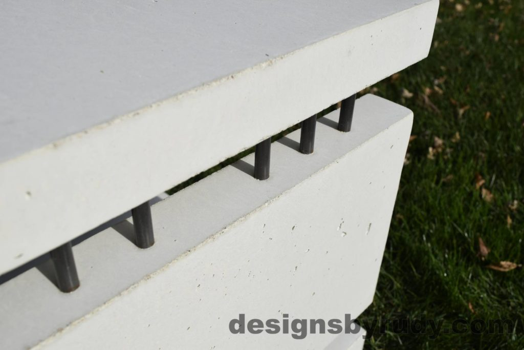 26L White Concrete Side Table DR0, steel rods detail 3, Designs by Rudy