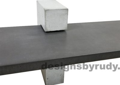 DR CB1 concrete bench on 3 pedestals by Designs by Rudy, center view of slab in charcoal concrete and gray pedestal