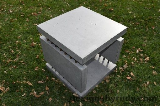 27 Gray Concrete Side Table DR0 exterior natural lighting full corner view 8, Designs by Rudy
