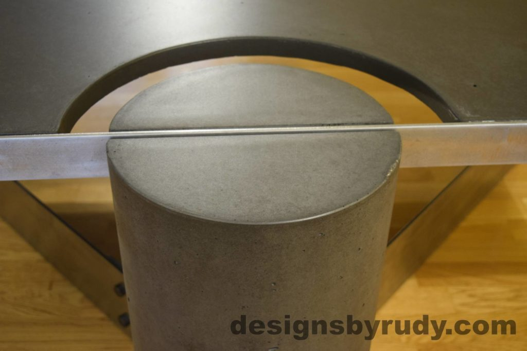 Black Concrete Coffee Table, Polished Steel Frame, frame and leg connection top view 3 closeup, no flash Designs by Rudy