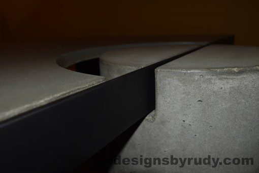 Gray Concrete Coffee Table, Black Steel Frame, concrete leg and steel top frame joint detail, Designs by Rudy