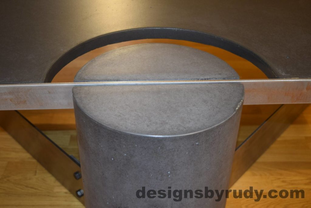 Black Concrete Coffee Table, Polished Steel Frame, frame and leg connection top view 3 closeup, with flash Designs by Rudy
