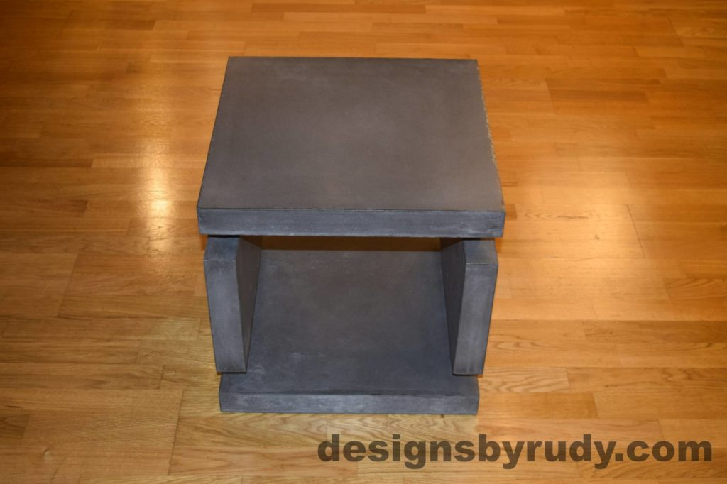 2L Charcoal Concrete Side Table DR0 front view, with flash, Designs by Rudy