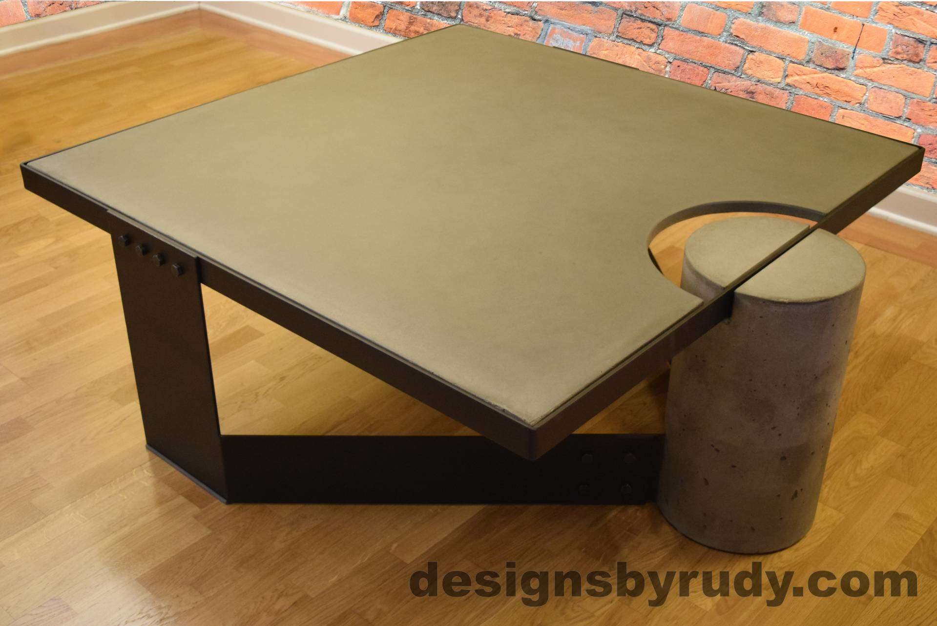 DR30 Gray Concrete Coffee Table with Black Powder Coated Frame Gallery