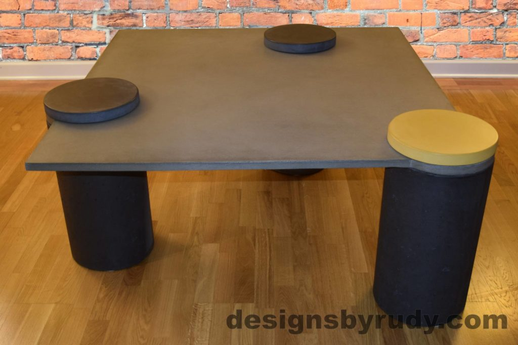 DR18 Gray Concrete Coffee Table, Charcoal Pillars, one Yellow, two Charcoal Caps, Designs by Rudy