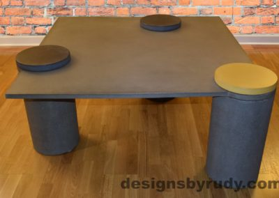 2L Gray Concrete Coffee Table, Gray Pillars, one Yellow, two Charcoal Caps, Designs by Rudy