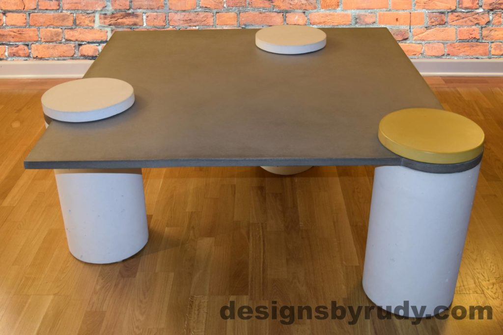 2L Gray Concrete Coffee Table, White Pillars, one Yellow, two White Caps, Designs by Rudy DR18