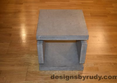 2L Gray Concrete Side Table DR0 full front view with flash, Designs by Rudy