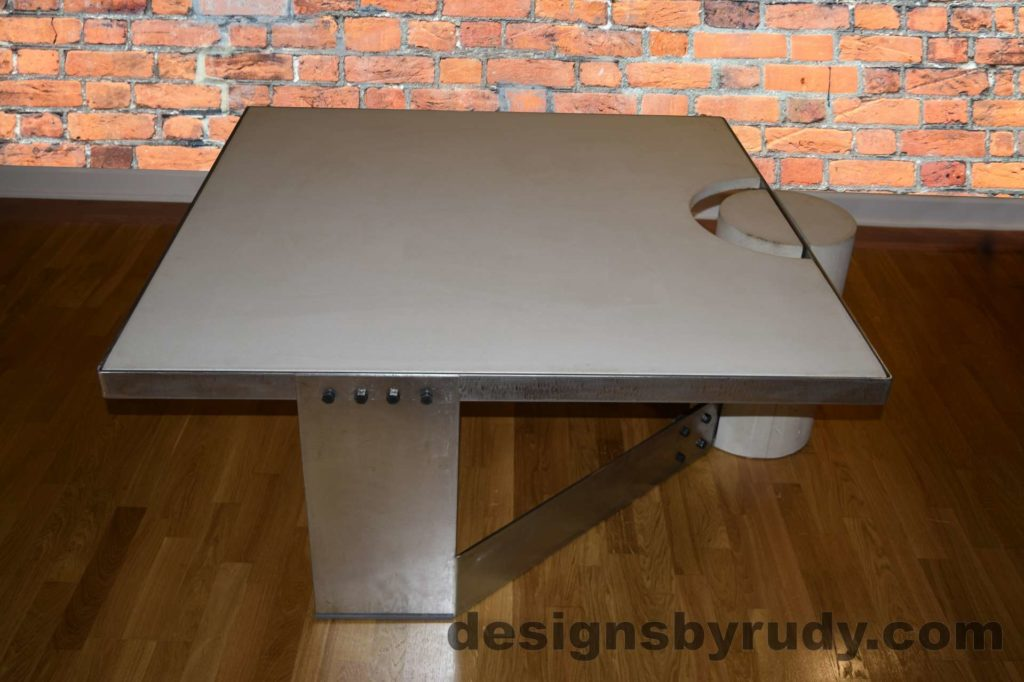 White Concrete Coffee Table, Polished Steel Frame, with flash Designs by Rudy