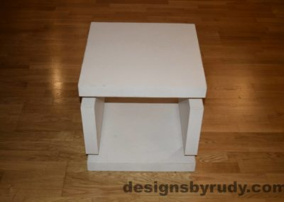 2L White Concrete Side Table DR0 full front view, with flash, Designs by Rudy