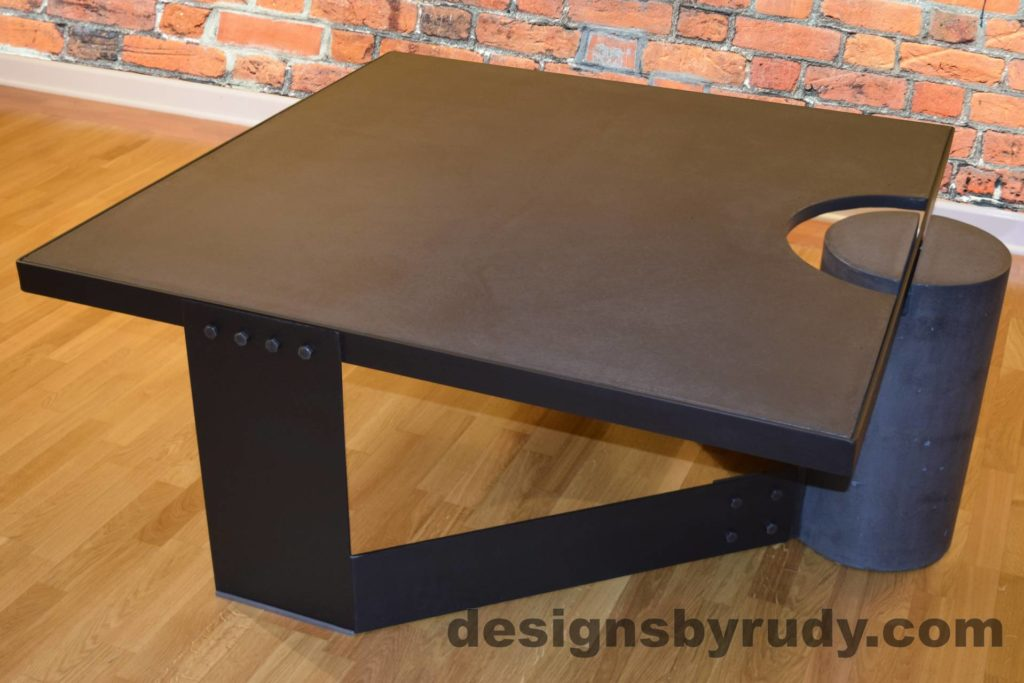 Black Concrete Coffee Table, Black Steel Frame, full rear corner perspective view, with flash, Designs by Rudy