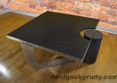 Charcoal Concrete Coffee Table, Polished Steel Frame, top angle view, no flash Designs by Rudy