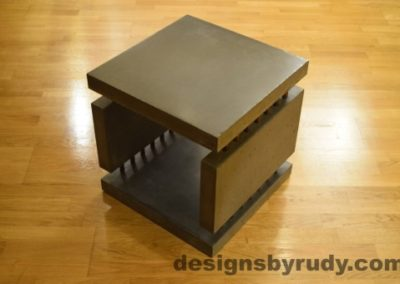 3 Charcoal Concrete Side Table DR0 corner view, no flash, Designs by Rudy