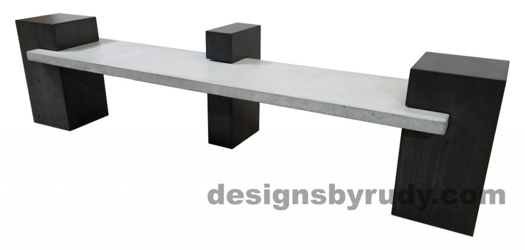DR CB1 concrete bench on 3 pedestals by Designs by Rudy, right angle, gray slab, all charcoal pedestals