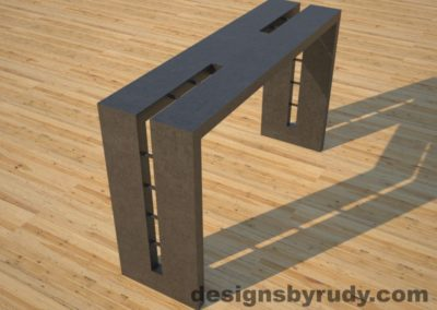 3 Double Split Charcoal Concrete Console Table angle view with steel accents Designs by Rudy