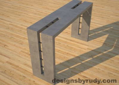 3 Double Split Gray Concrete Console Table angle view with steel accents Designs by Rudy