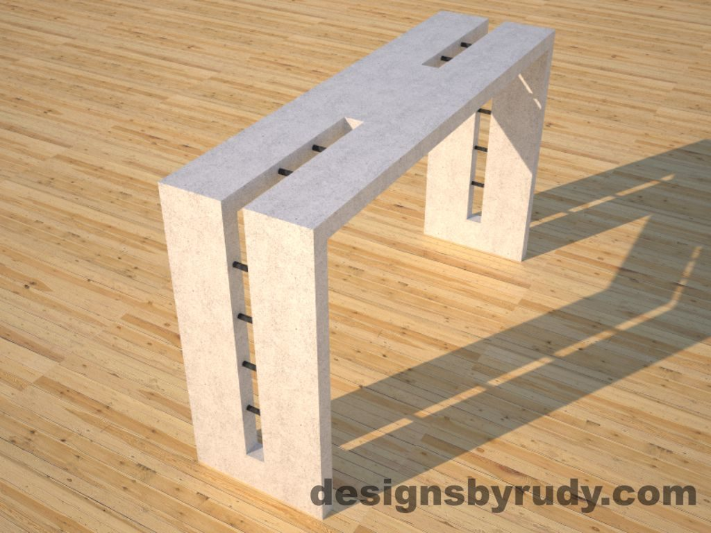 3 Double Split White Concrete Console Table angle view with steel accents Designs by Rudy