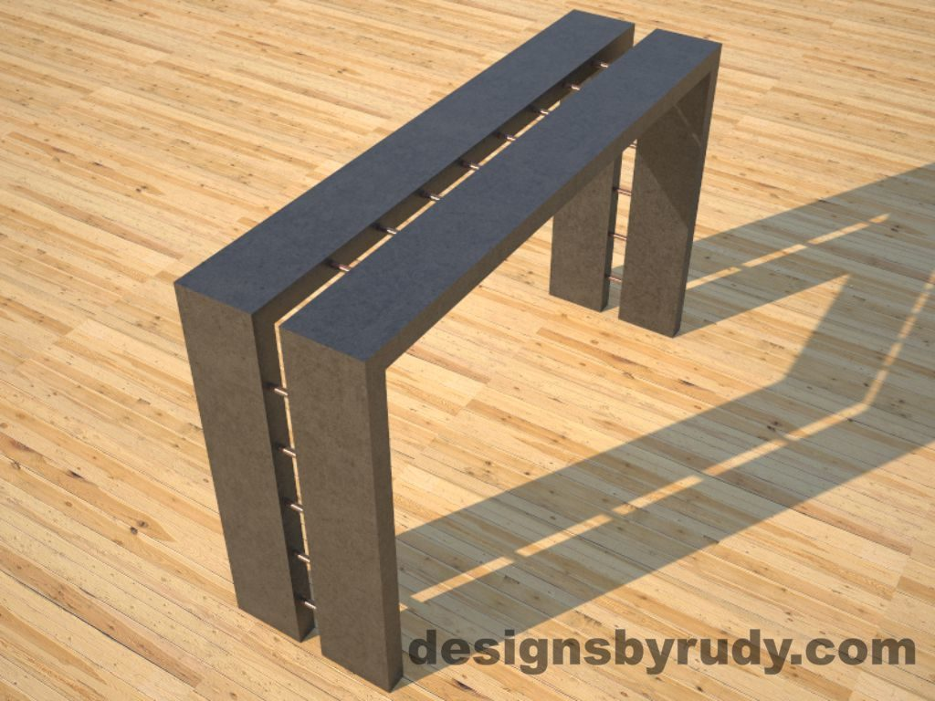 3 Full Split Charcoal Concrete Console Table angle view with copper accents Designs by Rudy