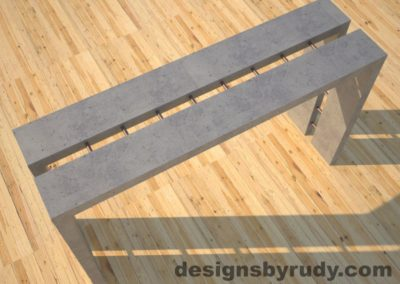 3 Full Split Gray Concrete Console Table top angle view with copper accents Designs by Rudy