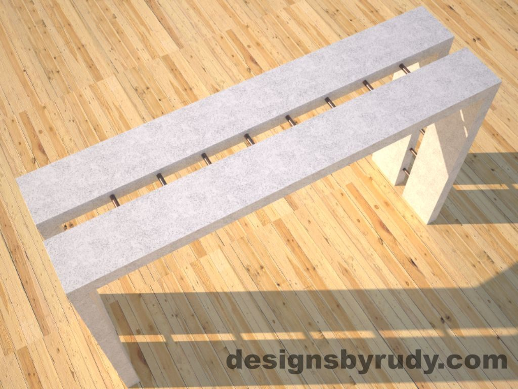 3 Full Split White Concrete Console Table top angle view with copper accents Designs by Rudy