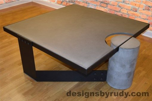 Gray Concrete Coffee Table, Black Steel Frame, top angle view 6, with flash, Designs by Rudy