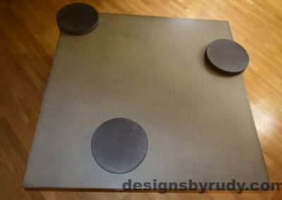 Gray Concrete Coffee Table Top with Charcoal Caps, Designs by Rudy DR18